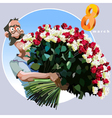 cartoon man with a huge bouquet of flowers vector image vector image