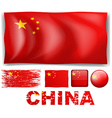China flag in different design vector image vector image