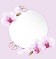 circle paper with orchids vector image vector image