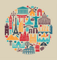 circle symbols icons world tourist attractions vector image vector image