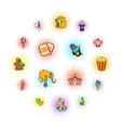 circus comics icons set vector image