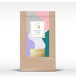 craft paper bag with almond chocolate label vector image vector image