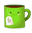 cute tea cup charactersweet teabag with cute vector image
