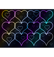dark background and shining hearts vector image vector image