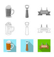 design of pub and bar sign set of pub and vector image vector image