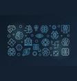 digital brain blue outline banner or vector image vector image