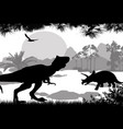 dinosaurs silhouettes in beautiful landscape vector image