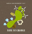 environment day card green carbon footprint vector image vector image