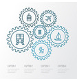 exploration outline icons set collection of tram vector image vector image