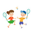 flat children playing badminton shuttlecock vector image vector image