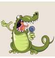 funny cartoon crocodile singing into a microphone vector image vector image