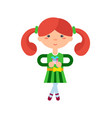 funny little girl with gift box icon vector image vector image
