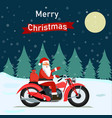 funny santa claus with christmas gifts on a bike vector image vector image
