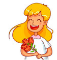 girl cartoon characters with a bouquet of tulips vector image