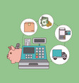 green color background with cash register with vector image vector image