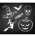 Halloween chalked collection vector image vector image