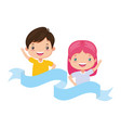 happy boy and girl vector image vector image
