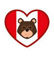 heart canadian flag with grizzly bear vector image vector image