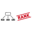 hierarchy mosaic and grunge rank stamp seal vector image vector image