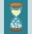 hourglass with diamonds time is money vector image