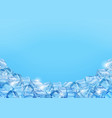 ice cubes on blue background realistic 3d ice vector image vector image