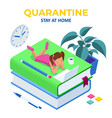 isometric concept for digital reading e-classroom vector image vector image