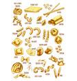 italian pasta names sketch icons set vector image vector image