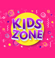 kids zone cartoon inscription children playground vector image vector image