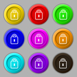 Lock icon sign symbol on nine round colourful vector image vector image