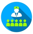 Medical Class Flat Round Icon with Long Shadow vector image vector image