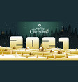 merry christmas happy new year calligraphy vector image vector image