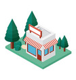 mini tree and store building isometric vector image vector image