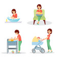 mother and baby big set vector image vector image