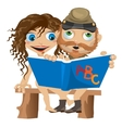 Naked man and woman reading book Funny card vector image vector image