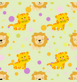 pattern with cute african tiger and lion vector image