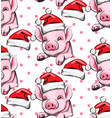 pig year pattern background vintage retro vector image
