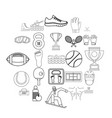 professional athlete icons set outline style vector image vector image