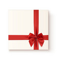 Realistic gift icon with red ribbon an bow vector image vector image