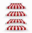 realistic shopping red and white striped awnings vector image vector image