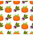 seamless pattern with pumpkins thanksgiving autumn vector image
