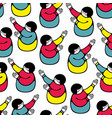 seamless pattern with young girls hands up vector image