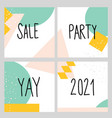 set four abstract square backgrounds hand vector image