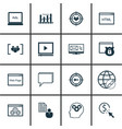 set of 16 seo icons includes keyword marketing vector image vector image
