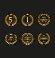 set of golden laurel wreaths on black background vector image vector image