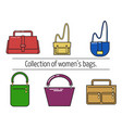 set of icons in a flat style women s bags vector image vector image