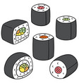 set of japanese rice roll vector image