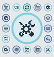 set of simple seo icons vector image vector image