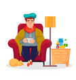 sick man sitting at home and drinking hot beverage vector image