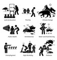 social issues and critical problems pictogram vector image