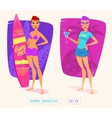 Surfing girl cartoon character Isolated vector image